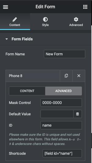 Form Maks for Elementor